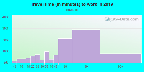 Commute time to work in Bayridge in Brooklyn neighborhood in NY