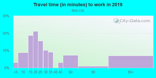 Commute time to work in Bibb City in Columbus neighborhood in GA