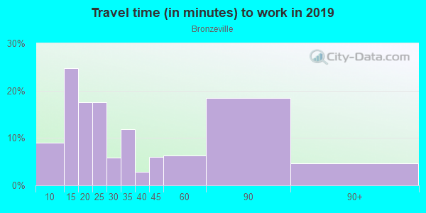 Commute time to work in Bronzeville in Chicago neighborhood in IL