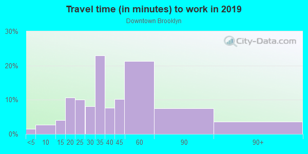 Commute time to work in Downtown Brooklyn in Brooklyn neighborhood in NY