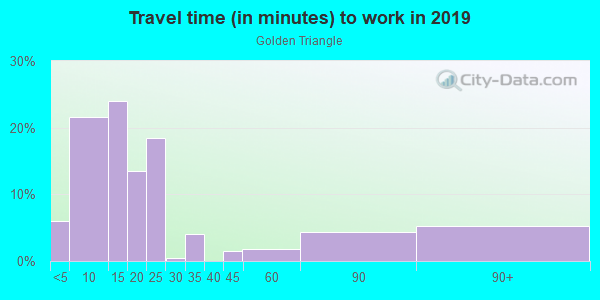 Commute time to work in Golden Triangle in Denver neighborhood in CO