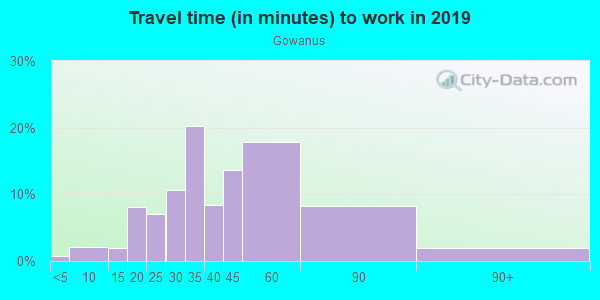 Commute time to work in Gowanus in Brooklyn neighborhood in NY