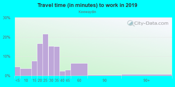 Commute time to work in Keewaydin in Minneapolis neighborhood in MN