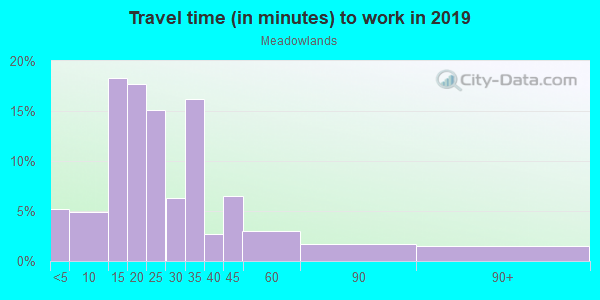 Commute time to work in Meadowview in Fayetteville neighborhood in AR