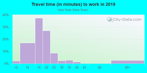 Commute time to work in New Town in Key West neighborhood in FL