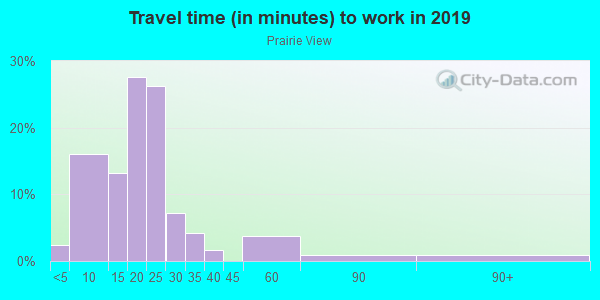 Commute time to work in Prairie View in Overland Park neighborhood in KS
