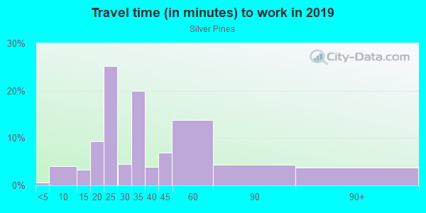 Commute time to work in Silver Pines in Orlando neighborhood in FL