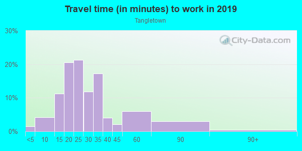 Commute time to work in Tangletown in Minneapolis neighborhood in MN