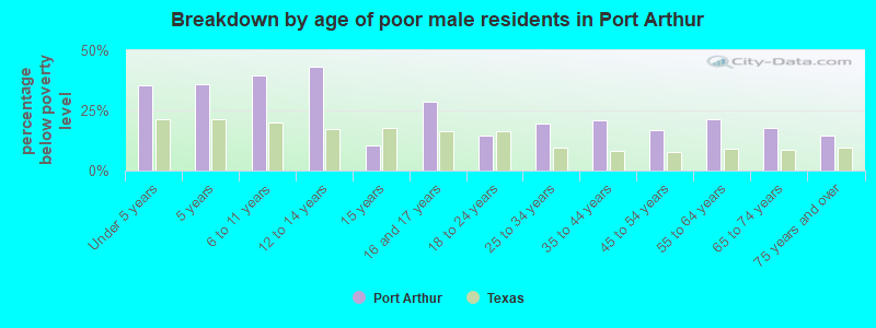 Breakdown by age of poor male residents in Port Arthur