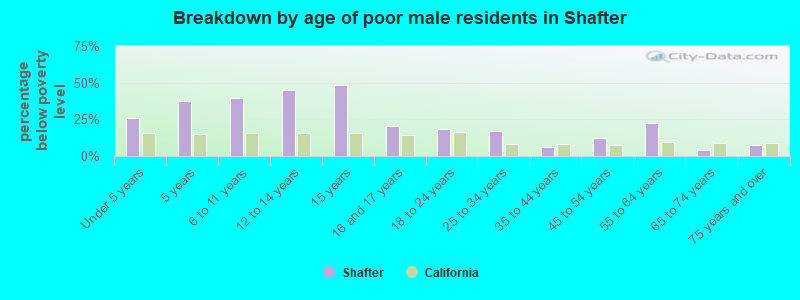 Breakdown by age of poor male residents in Shafter