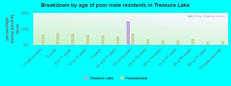 Breakdown by age of poor male residents in Treasure Lake