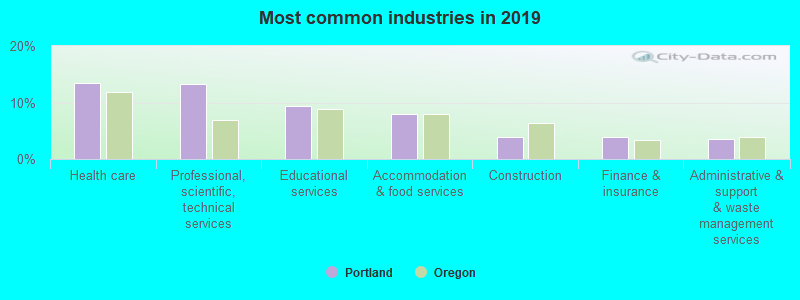 Most common industries in 2017