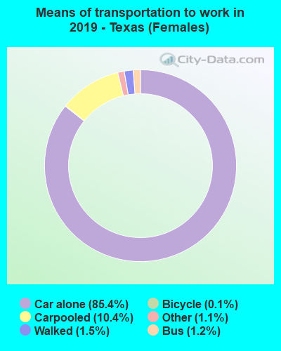 Means of transportation to work in 2016 - Texas (Females)