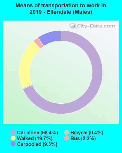 Means of transportation to work in 2016 - Ellendale (Males)
