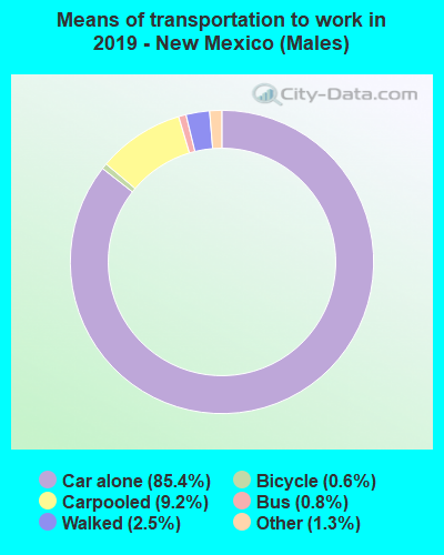 Means of transportation to work in 2016 - New Mexico (Males)