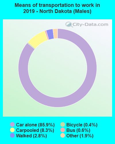 Means of transportation to work in 2016 - North Dakota (Males)