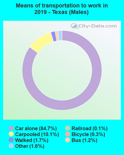 Means of transportation to work in 2016 - Texas (Males)