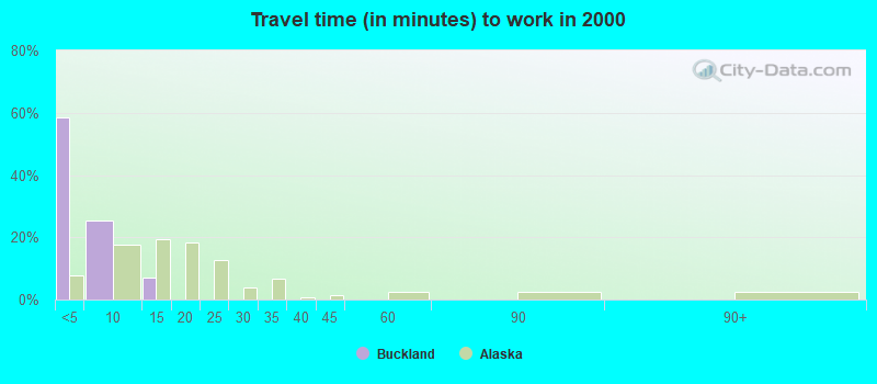 Travel time (in minutes) to work in 2000