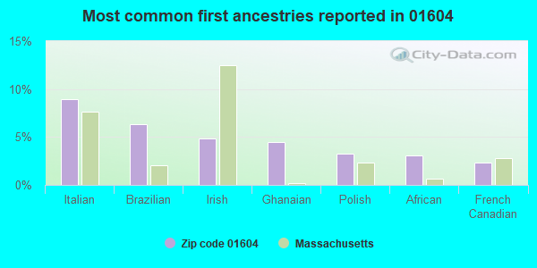 Most common first ancestries reported in 01604