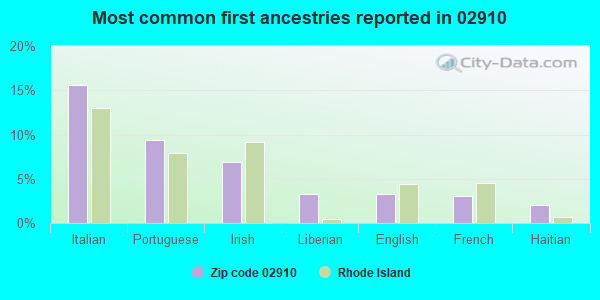 Most common first ancestries reported in 02910