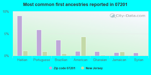 Most common first ancestries reported in 07201