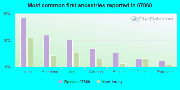 Most common first ancestries reported in 07860
