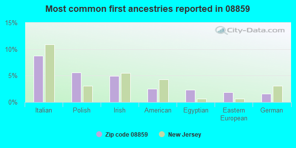 Most common first ancestries reported in 08859