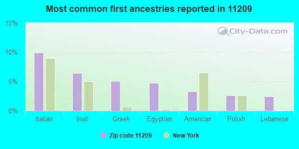 Most common first ancestries reported in 11209