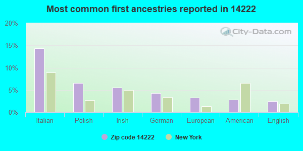 Most common first ancestries reported in 14222
