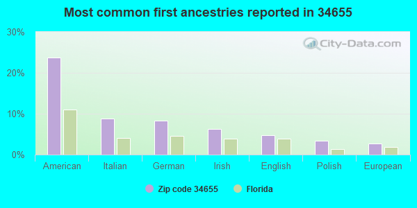 Most common first ancestries reported in 34655