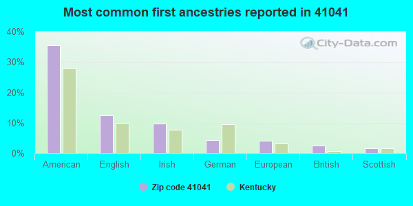 Most common first ancestries reported in 41041