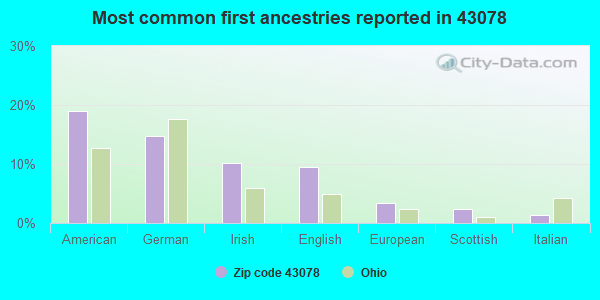 Most common first ancestries reported in 43078