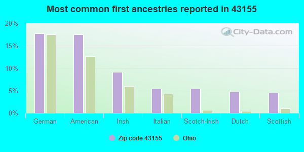 Most common first ancestries reported in 43155
