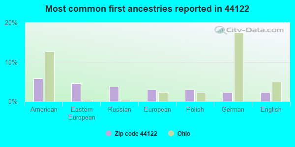 Most common first ancestries reported in 44122