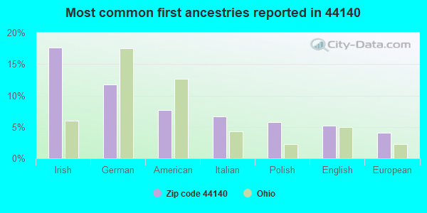 Most common first ancestries reported in 44140