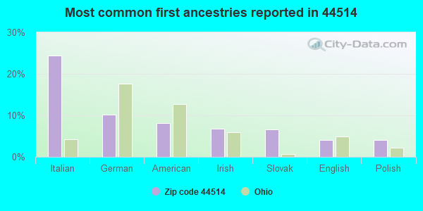 Most common first ancestries reported in 44514