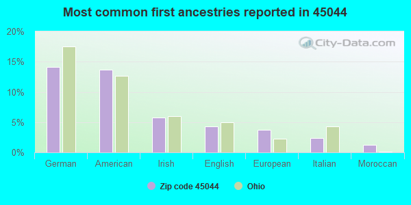 Most common first ancestries reported in 45044