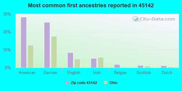 Most common first ancestries reported in 45142