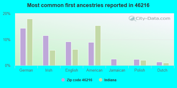 Most common first ancestries reported in 46216