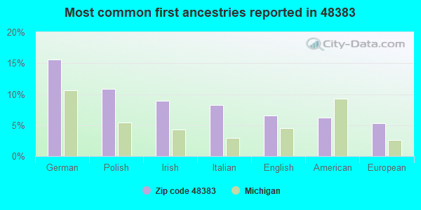 Most common first ancestries reported in 48383