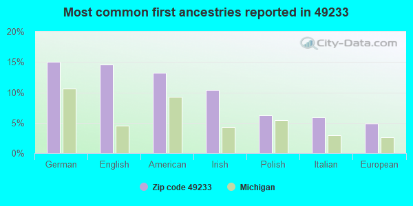Most common first ancestries reported in 49233