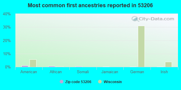 Most common first ancestries reported in 53206