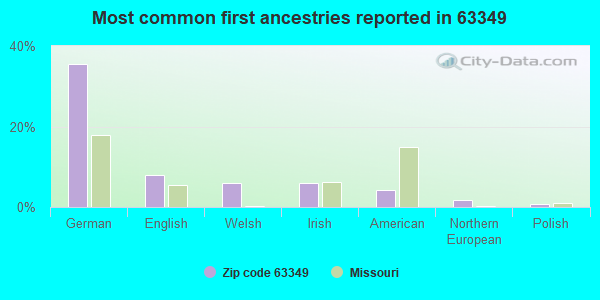 Most common first ancestries reported in 63349