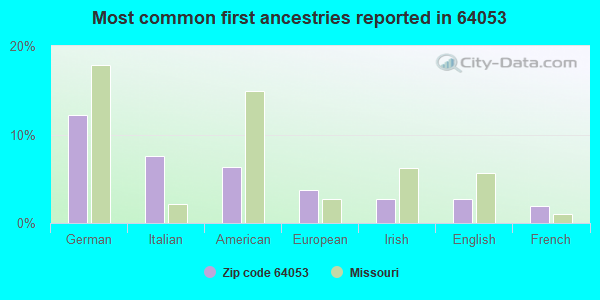 Most common first ancestries reported in 64053