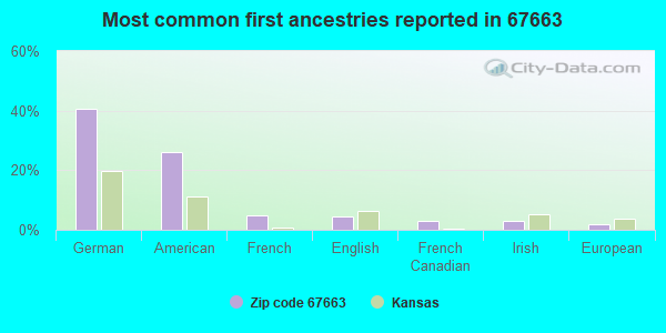 Most common first ancestries reported in 67663