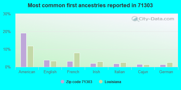 Most common first ancestries reported in 71303
