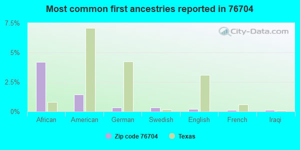 Most common first ancestries reported in 76704