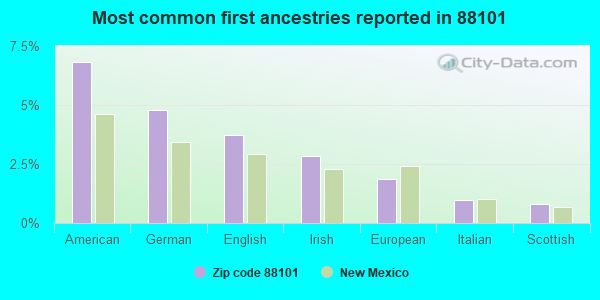 Most common first ancestries reported in 88101
