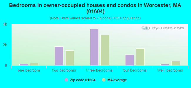 Bedrooms in owner-occupied houses and condos in Worcester, MA (01604)