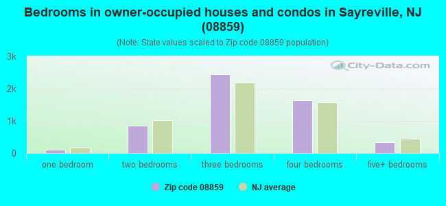 Bedrooms in owner-occupied houses and condos in Sayreville, NJ (08859)